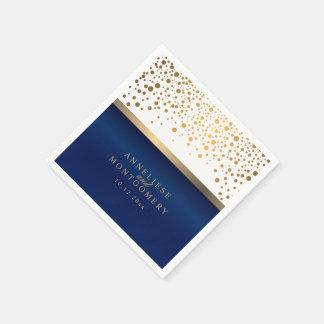 Wit en Marineblauw met het Gouden Stip van Papieren Servetten