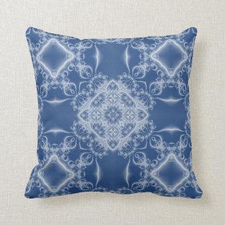 Wit fractal kant op blauw sierkussen