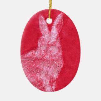 Wit Konijn Keramisch Ovaal Ornament