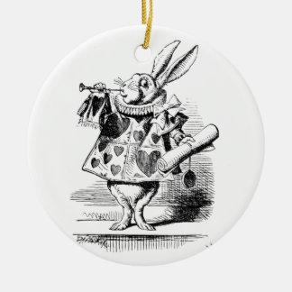 Wit Konijn Rond Keramisch Ornament