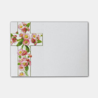 Wit Kruis met Roze Bloemen Post-it® Notes