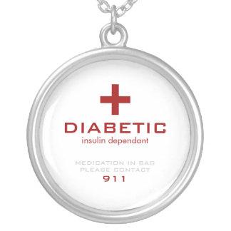 Wit Medisch Alarm, Diabetes Zilver Vergulden Ketting