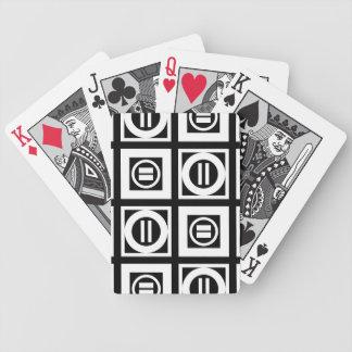 Wit op het Zwarte Geometrische Patroon van het Bicycle Speelkaarten