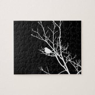 Wit op het Zwarte Silhouet van de Vogel - Foto Puzzels
