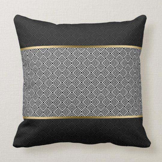 Wit op Zwart Modern Geometrisch Patroon Kussen