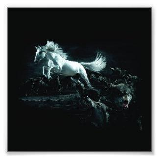 Wit Paard en de Aanval van Wilde Wolven Foto Kunst