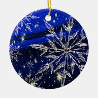 Wit sneeuw blauw ornament