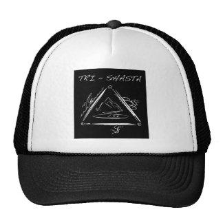 Wit tri-Shasta-Triathalon-logo (op Zwarte) Petten
