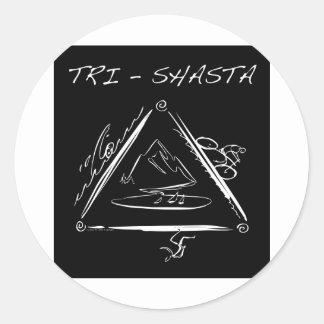 Wit tri-Shasta-Triathalon-logo (op Zwarte) Ronde Stickers