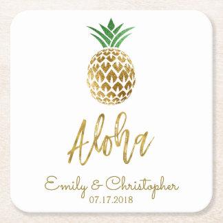 Wit van het Huwelijk van de Ananas van Aloha het Vierkante Onderzetter