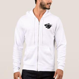 Wit volledig-pit hoodie met zwart logo NinjaBear