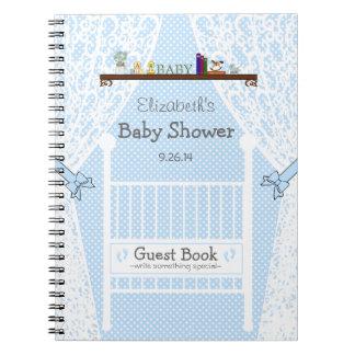 Wit Wieg met Boek van de Gast van het Baby shower Ringband Notitieboek