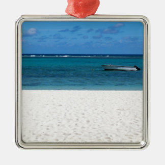 Wit zandstrand van Engelse Flac Mauritius overloo Zilverkleurig Vierkant Ornament