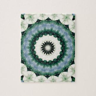 Witte Bloem en Cerulean Blauwe Mandala Puzzel