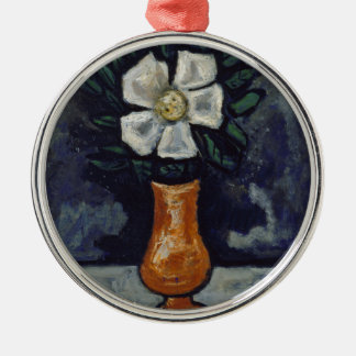 Witte Bloem - Marsden Hartley Zilverkleurig Rond Ornament