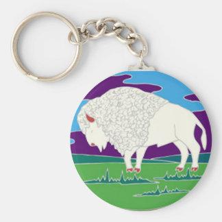 Witte Buffels Inheemse Amerikaanse Keychain Basic Ronde Button Sleutelhanger