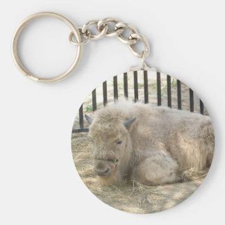 Witte buffels Keychain Sleutelhanger