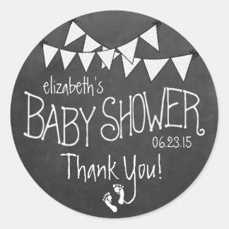 Witte Bunting en het Witte Baby shower van het Ronde Stickers