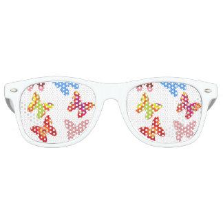 witte de volwassenenzonnebril van patroonvlinders, retro zonnebril