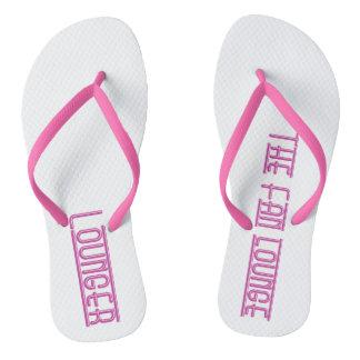 Witte de wipschakelaar van vrouwen/roze teenslippers