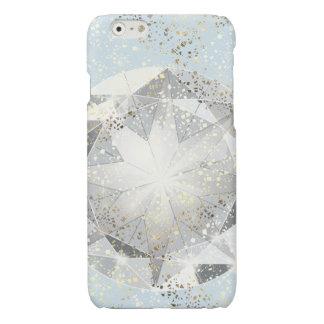 Witte Diamant op de Lichte Blauwe Fonkeling van de iPhone 6 Hoesje Glanzend