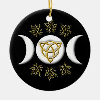 Witte Drievoudige Maan & Gouden tri-Quatra op Rond Keramisch Ornament