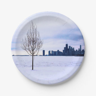 Witte droom - de winter in Chicago, document Papieren Bordje