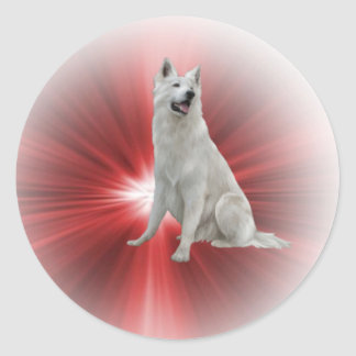Witte Duitse herder Ronde Stickers