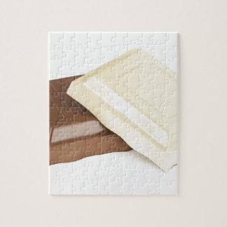Witte en bruine chocolade puzzel