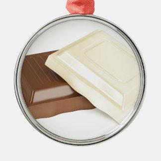 Witte en bruine chocolade zilverkleurig rond ornament