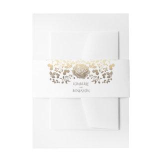 Witte en Gouden Elegante Vintage Elegante Bloemen Uitnodigingen Wikkel