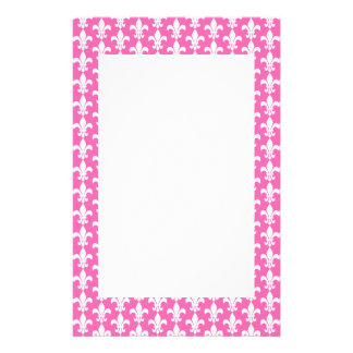 Witte en Hete Pink Fleur DE Lis Pattern Briefpapier
