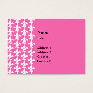 Witte en Hete Pink Fleur DE Lis Pattern Visitekaartjes