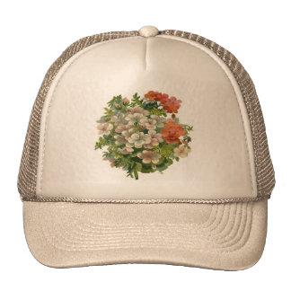 Witte en Oranje Bloemen Petten Met Netje