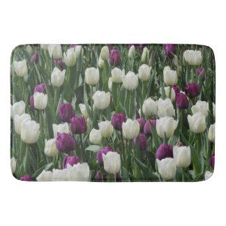 Witte en Paarse Tulpen Badmat