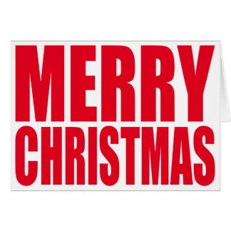 Witte en Rode Grote Vrolijke Kerstmis van het Blok Kaart