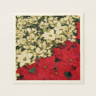 Witte en Rode Poinsettia I Vakantie Bloemen Wegwerp Servetten