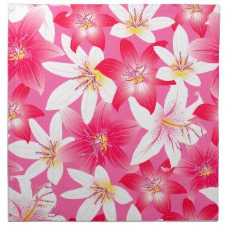 Witte en roze hibiscus bloemen katoenen servet