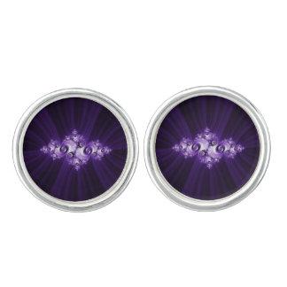 Witte fractal op paarse achtergrond manchetknopen