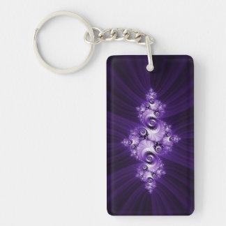Witte fractal op paarse achtergrond sleutelhanger