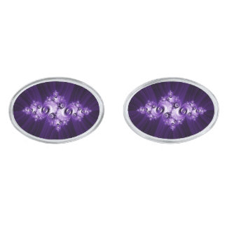 Witte fractal op paarse achtergrond verzilverde manchetknopen