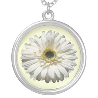 Witte Gerbera Daisy Necklace Zilver Vergulden Ketting