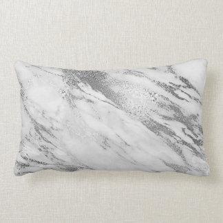 Witte Grijze Zilveren Monochromatische Marmeren Lumbar Kussen
