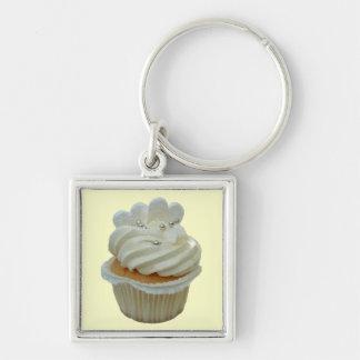 Witte harten cupcake zeer belangrijke ketting zilverkleurige vierkante sleutelhanger