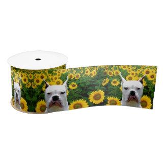 """Witte hond en zonnebloemen 3 van de Bokser"""" Satijnen Lint"""