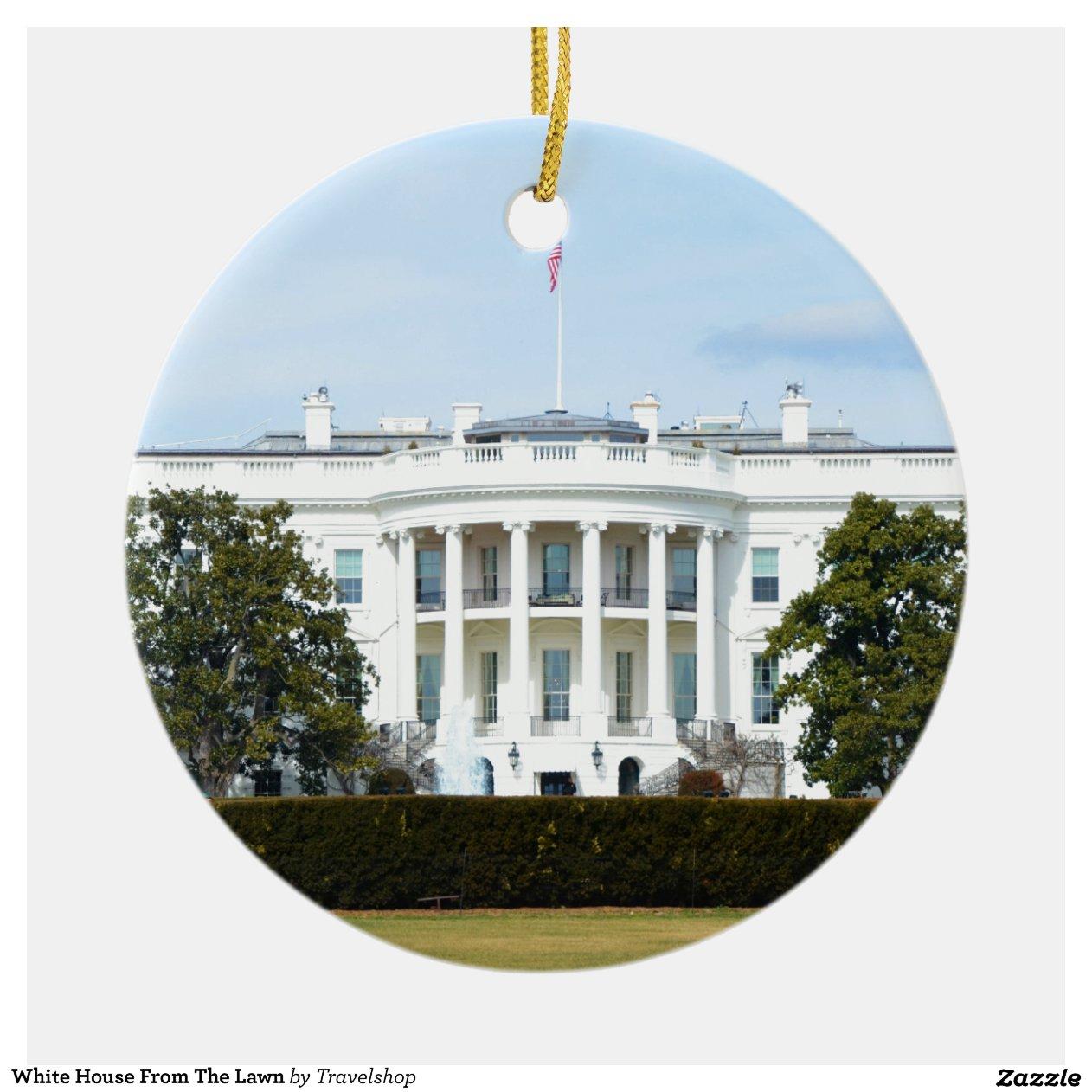 Witte huis van het gazon rond keramisch ornament zazzle - Huis van het wereldkantoor newport ...