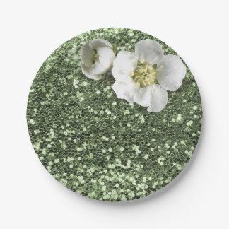 Witte Jasmijn van het Groen van de munt schittert Papieren Bordjes