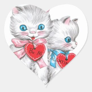 Witte Katjes Valentijn Hart Sticker