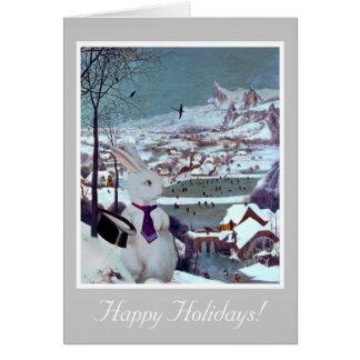 Witte Kerstmis van het Konijn - de Vintage Kaart