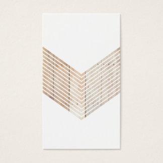 Witte Minimalistische chevron met Hout Visitekaartjes